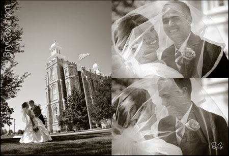 Abbey and Ken at the Logan Utah temple, photography and design by Bry Cox, BryCox.com Celebrity Style Imaging, Inc.™